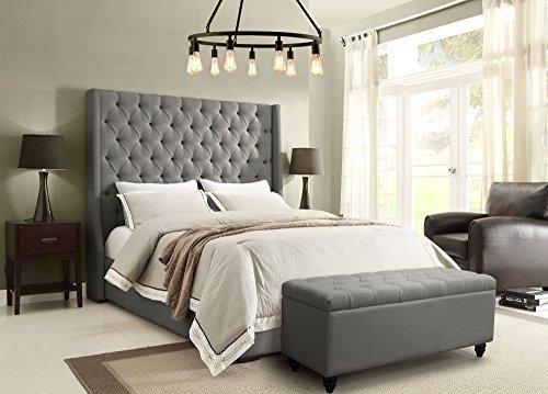 Diamond Sofa Park Avenue Tufted Bed in Gray (Est. King: 89 in. L x 87 in. W x 69 in. H) by Diamond Sofa