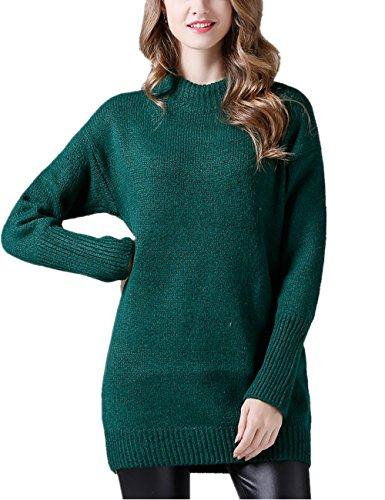 YOSICIL Femme Hiver Printemps Col Rond Pull-Over Mi-Long Tricot sous-Pull Chaud Chemises