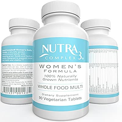 Naturally Grown Wholefood Multivitamin for Women Veggie Tablets Gluten Free GMO Free Whole Food Multivitamin 90 Veggie Tablets 1 month Supply