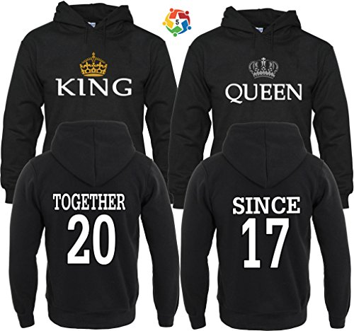 King & Queen Together Since Couple Matching Hoodies Pull Over M Men - 3XL Women by Arts & Designs