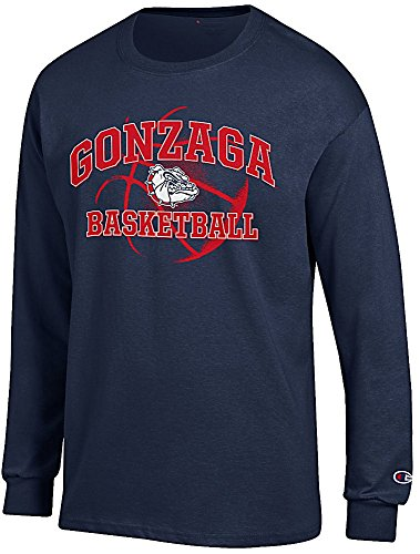 Gonzaga Bulldogs Blue Basketball Long Sleeve T Shirt by Champion (Large)