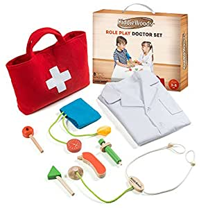 Kiddie Woods Wooden Toy Doctor Kit for Kids, Pretend Medical Play Set for Boys and Girls, Educational for Children & Older Toddlers
