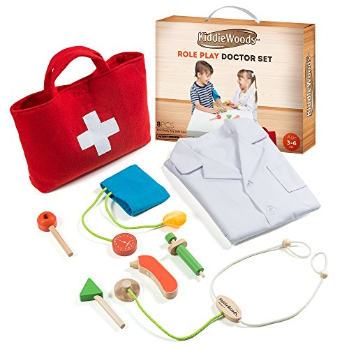Kiddie Woods Wooden Toy Doctor Kit for Kids, Pretend Medical Play Set for Boys and Girls, Educational for Children & Older (Kiddie Costume)