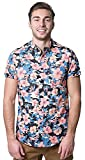 Brooklyn Athletics Men's Hawaiian Aloha Shirt Vintage Casual Button Down Tee, Black/Pink Floral, Medium