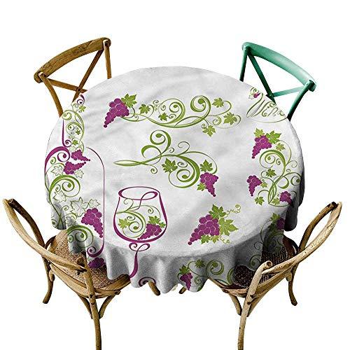 ScottDecor Round Tablecloth Plaid Wine,Bottle Glass Grapevines D50,for -