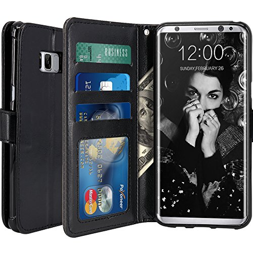 Galaxy S8 Case, LK [Wrist Strap] Luxury PU Leather Wallet Flip Protective Case Cover with Card Slots and Stand for Samsung Galaxy S8 Case