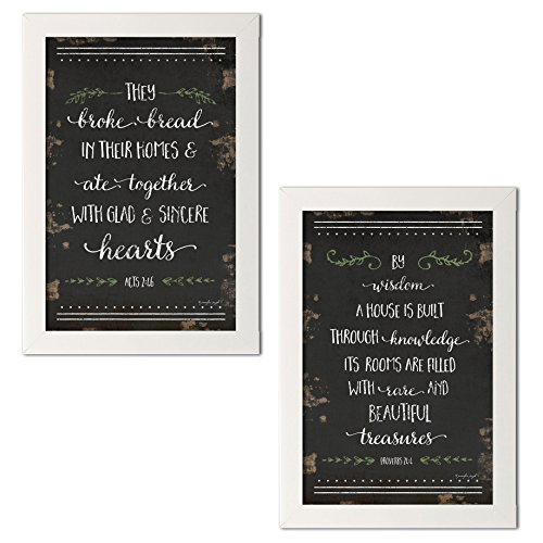 Distressed Bible Verse Proverbs 24:4 and Acts 2:46; Religious Décor; Two 12x18in White Framed Prints