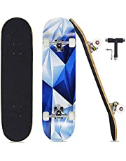 """Pwigs Pro Complete Skateboards for Beginners Adults Youths Teens Girls Boys 31""""x8"""" Skate Boards 7 Layers Deck Maple Wood Longboards"""