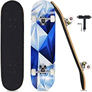 "Pwigs Pro Complete Skateboards for Beginners Adults Youths Teens Girls Boys 31""x8"" Skate Boards 7 La"