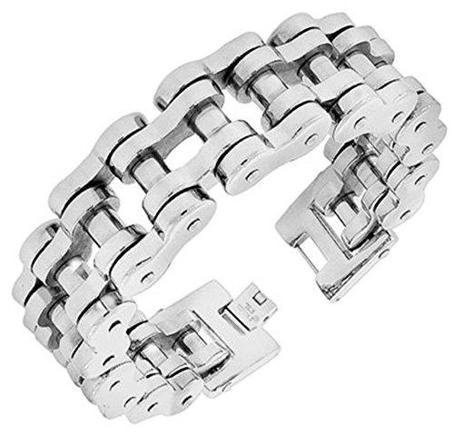 VPKJewelry Men's Silver Plated Stainless Steel Motorcycle Bike Link Chain Bracelet - 23 mm Wide - (9