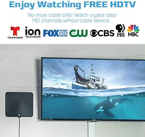 MAXHD Antena ANT-MAX60 Antena plana 2019 – Antena amplificada TV Digital HD hasta 75 millas – Antena de TV para televisión digital interior con amplificador de señal – Antena HDTV con cable
