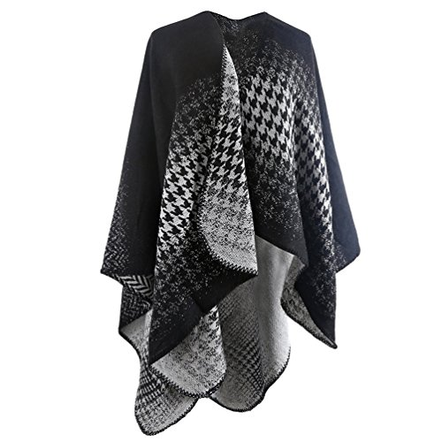[Women's Blanket Winter Houndstooth Knitted Cardigans Scarf Shawl Poncho Cape (Black/White)] (Black And White Cape)
