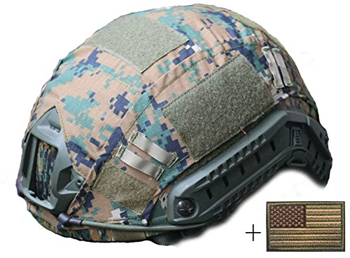 OSdream Tactical Military Helmet Covers Camouflage Cover Airsoft Paintball Shooting Helmet Accessory Only A Cover and US Flag Patch without Helmet (Jungle digital)