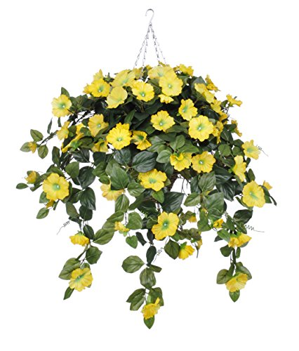 Artificial Petunia Hanging Plant in Square Basket Flower Color: Yellow