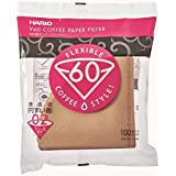 Hario VCF-02-100M v60 Cone Paper Coffee Filters, 02, Natural-Tabbed