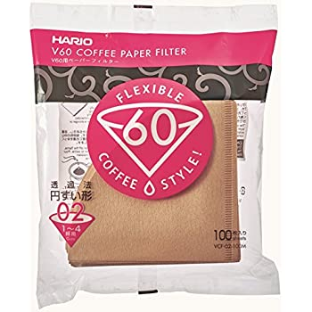 Hario V60 Misarashi Coffee Paper Filter (Size 02, 100 Count, Natural)