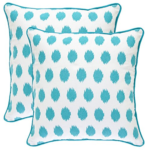 Turquoise Polka Dot (TreeWool, (2 Pack) Throw Pillow Covers Ikat Polka Dot Accent in Cotton Canvas (18 x 18 Inches; Turquoise))