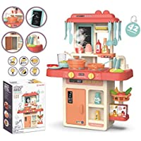 PENADIA Real Kitchen Playset for Kids Play Kitchen with Realistic Smoky, Music,Real Water Tap, Actually Fell of Kitchen, for Kids Girls