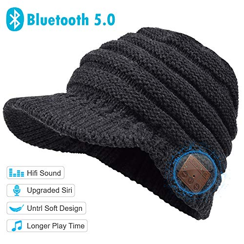 WINONLY Bluetooth Beanie Hat, Upgraded Bluetoooth 5.0 Beanie Gift for Men and Women, Wireless Headphone Beanie Music Hat,Winter Knitting Cap Bluetooth Earphones, Built-in Microphone Hand-Free Call