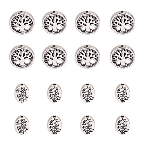 PH PandaHall 60pcs Antique Silver Oval & Round Tibetan Alloy Tree of Life Family Spacer Beads Jewelry Findings for Bracelet Necklace Jewelry Making - Spacer Oval