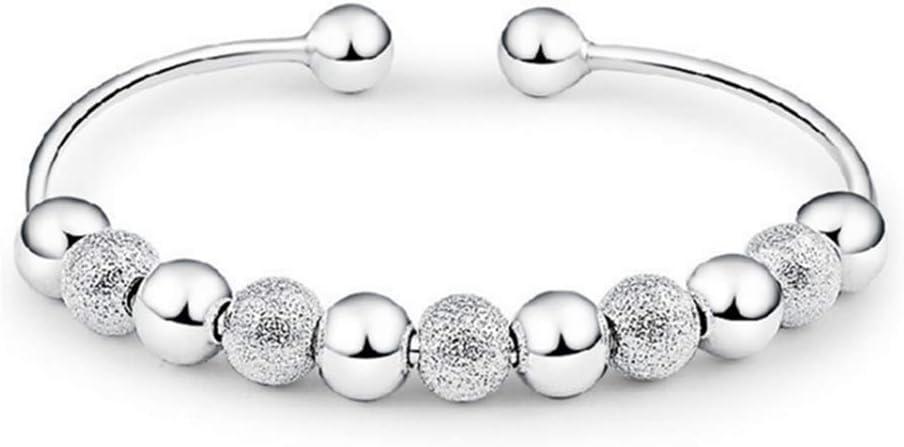 skyllc® Preciosa Pulsera de Plata Joyeria de Plata con Perlas, Pulsera de la Moda, Buena Suerte puño Abierto para Las Mujeres y Las niñas