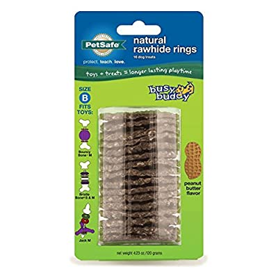 PetSafe Busy Buddy Refill Ring Dog Treats for select Busy Buddy Dog Toys, Peanut Butter Flavored Natural Rawhide, Size B from PetSafe