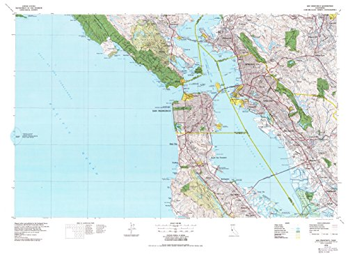 YellowMaps San Francisco CA topo map, 1:100000 Scale, 30 X 60 Minute, Historical, 1978, Updated 1979, 27.3 x 37.5 in - Tyvek ()
