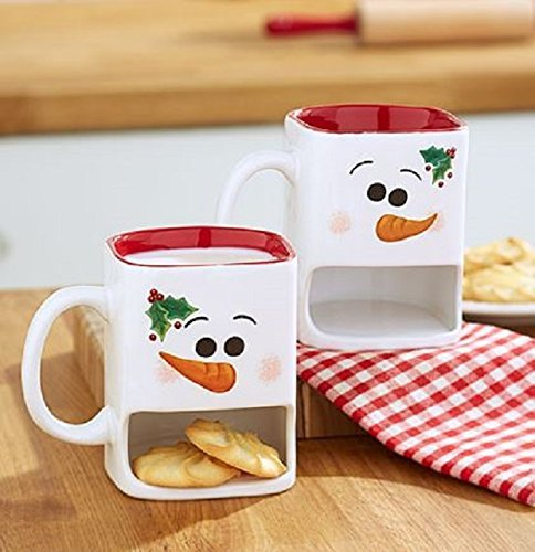 Christmas Gift Set (Winter Snowman Cookie Mug Set of 2 Snowman Christmas Gift Coffee Hot Chocolate Hot Cider Egg)