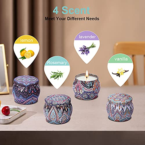 HiFan Scented Candle Gifts Set, Made with 100% Soy Wax,22 Hour Burn Time,Rosemary,Lavender,Vanilla,Lemon Four Fragrance Perfect for Bath, Yoga, Christmas, Birthday, Mother\'s Day, 4 oz- Pack of 4