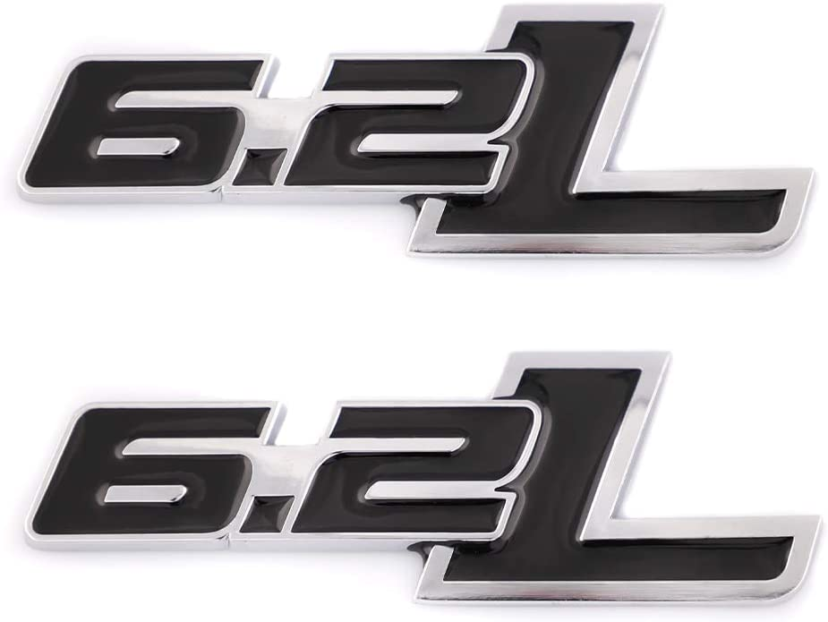 2x 6.2L Litter Hood Fender Tailgate Emblem Decal Replacement For F150 Ratpor F-150 Badge Sticker Automotive Accessories Decoration Black With Silver Outline