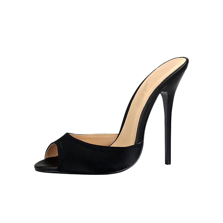 b199e0146440 fereshte Men s Women s Satin Drag Queen Open Toe Slip On Stiletto High Heels  Slippers Sandals Black