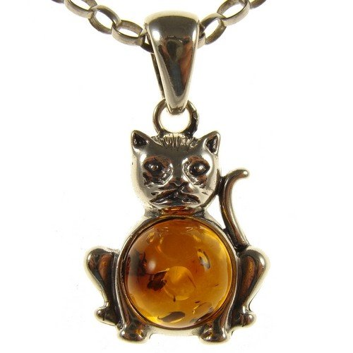 """BALTIC AMBER AND STERLING SILVER 925 CAT PENDANT NECKLACE JEWELLERY JEWELRY WITH inch 14""""/35cm, 16""""/40cm, 18""""/45cm, 20""""/50cm, 22""""/55cm, 24""""/60cm, 26""""/65cm, 28""""/70cm, 30""""/75cm, 32""""/80cm, 34""""/85cm 1mm THICK STERLING SILVER 925 STAMPED ITALIAN DESIGNER SNAKE LINK STYLE CHAIN WITH LOBSTER CLAW CLASP"""