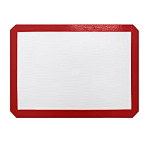 Non-stick Silicone Baking Mat 16.5x11.6'' Red By HomeBeyond Professional Quality Baking Mat