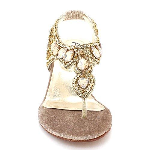 Slingback Taille Prom Talon Partie Diamante Londres Mariée Sandales Soirée De Cristal Mariage Confort Compensé Aarz Femmes Dames De Or Chaussures zOqaaU