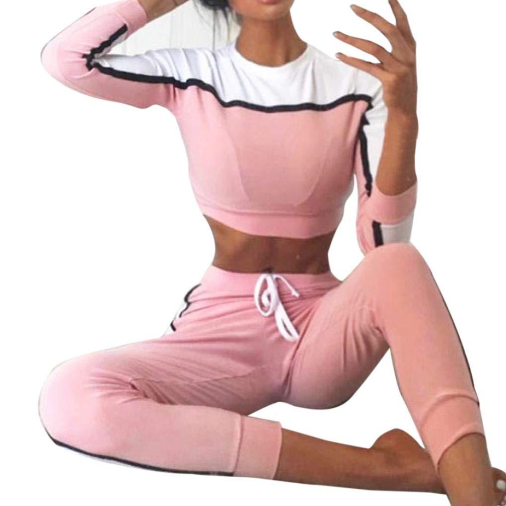 Clearance!!!Women's 2Pcs Tracksuit,Sport Sweatshirt Pants Sets Long Sleeve Wear Casual Suit (L, Pink)