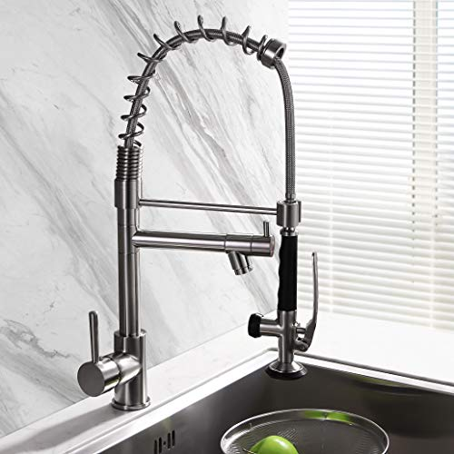 (BULUXE Pull-Down Kitchen Sink Faucet with Spring Sprayer,Muti-funtion Faucet with Pre-rinse, Commercial Brushed Nickel Stainless Steel Touch on Kitchen Sink Faucets)