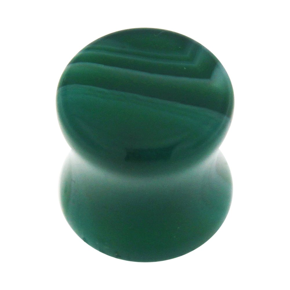 6MM Colorful Synthetic Green Jade Stone Saddle Gauge Plug Earring Jewelry