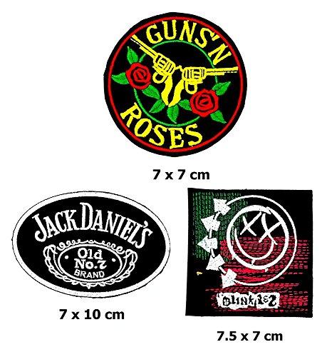 Rock Heavy Music_Set Guns N Roses Jack Daniels Blink 182 Music Metal Punk rock patch Iron on Logo Vest Jacket cap Hoodie Backpack Patch Iron On/sew on patch (Jack Daniels Costume Diy)