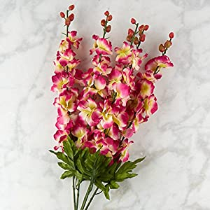 Factory Direct Craft Pink and Crem Poly Silk Delphinium Floral Bush | for Indoor Decor 102