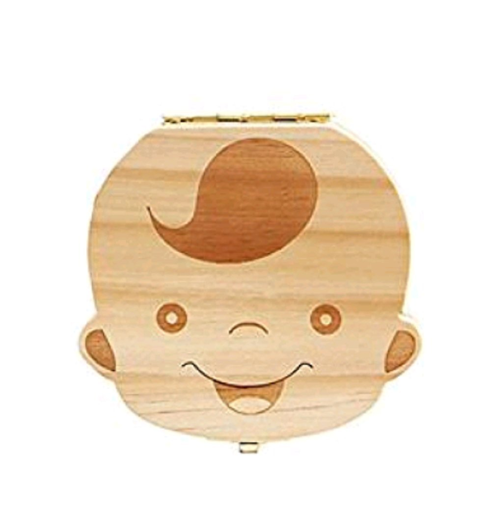 Hosaire Baby Teeth Box Child Milk Teeth Saver Wood Keepsake Organizer Deciduous Souvenir Box Baby Tooth Box English Boy