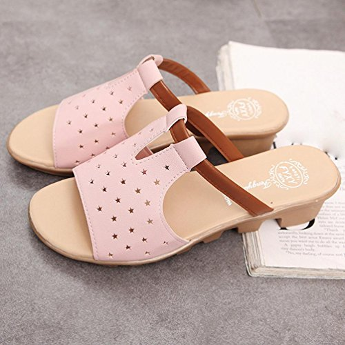 Women Summer Female Sandals, Anti-Skid Five-Star Casual Slippers - Fashion Solid Beach Slides Slippers Shoes Pink