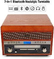 1 BY ONE Tocadiscos Nostalgic de Madera Wireless Reproductor de ...