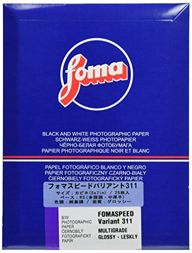 Foma Fomaspeed 311 Variant III VC RC Glossy Black & White Photographic Paper, 5x7, 25 Sheets by Foma
