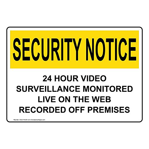 ComplianceSigns Vinyl OSHA SECURITY NOTICE Label, 5 x 3.5 in. with Security Camera Info in English, 4-pack White