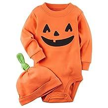YQWEL Baby Boys' Halloween Pumpkin Costume Bodysuit with Hat