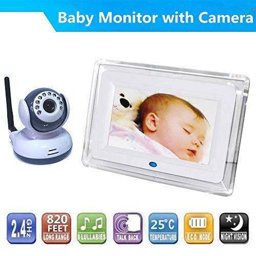 PAKASEPT Video Baby Monitor with Digital Camera and 7 inch LCD Screen Two Way Talkback Auto Night Vision Temperature Detection Support Multi Cameras