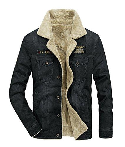 Wintie Men's Classic Fit Blue Faux Shearling Collar Slim Denim Jackets Black 2XL