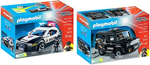 Playmobil City Action Playset Bundle with Police Tactical Unit Car and Police Cruiser