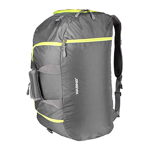 WATINC 50L 3-Way Travel Duffel Backpack Luggage Gym Sports Bag with Shoe Compartment(gray)