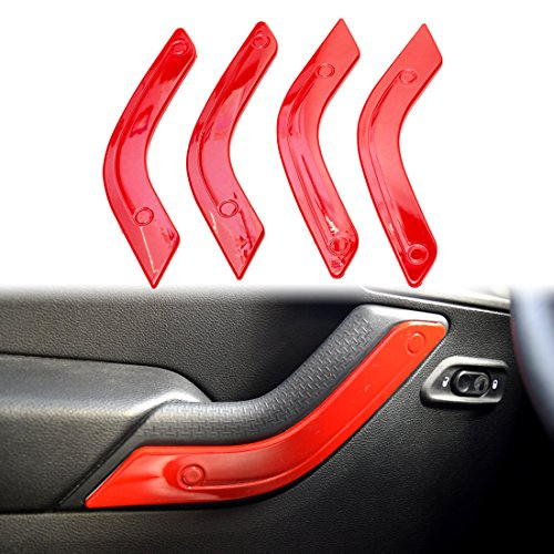 IPARTS Red Interior Inner ABS Door Handle Trim Guard for 4 Door 2011- 2017 Jeep Wrangler JK & Unlimited 4 (Inner Door Handle Cap)